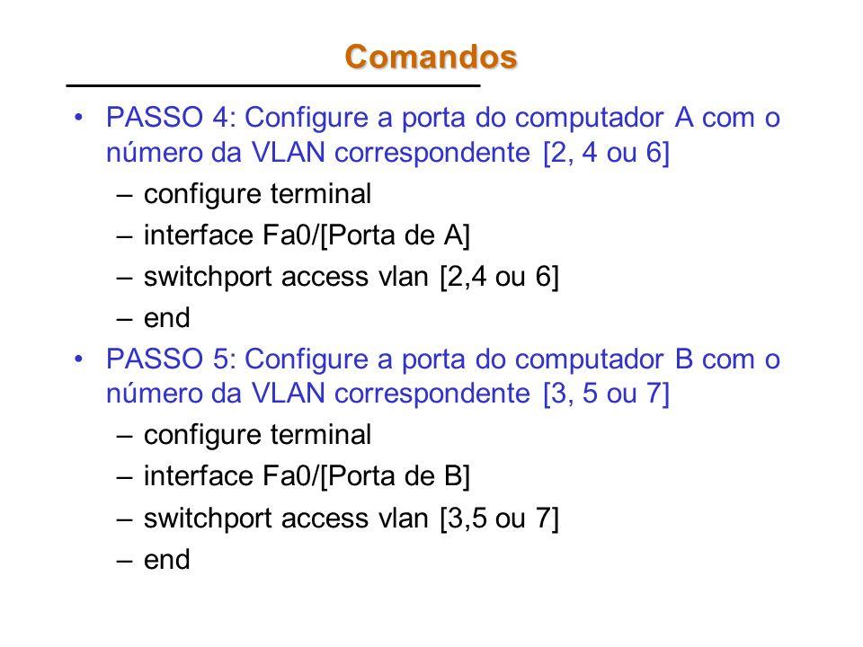Comandos PASSO 4: Configure a porta do computador A com o número da VLAN correspondente [2, 4 ou 6]